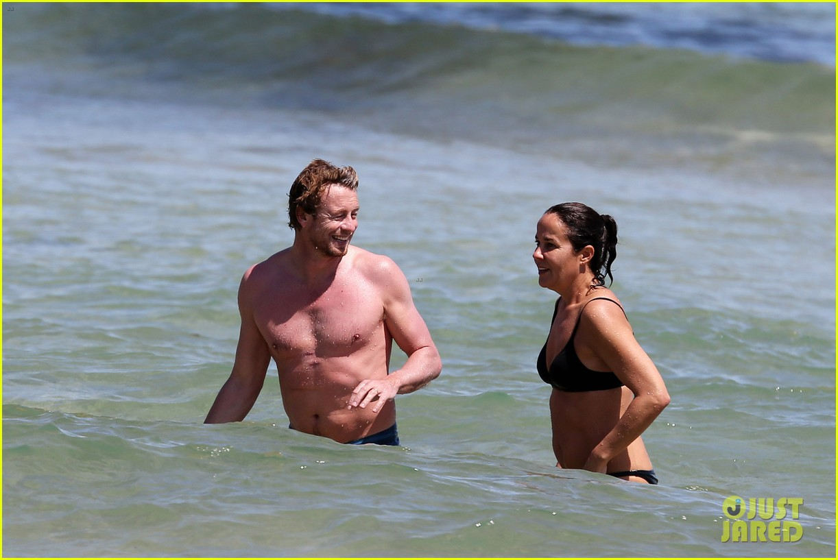 simon baker shirtless beach day with wife rebecca rigg 183013008