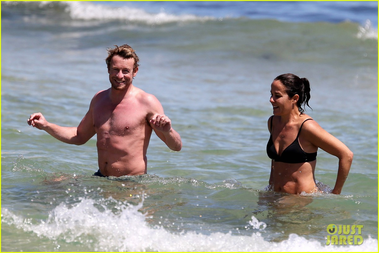simon baker shirtless beach day with wife rebecca rigg 193013009