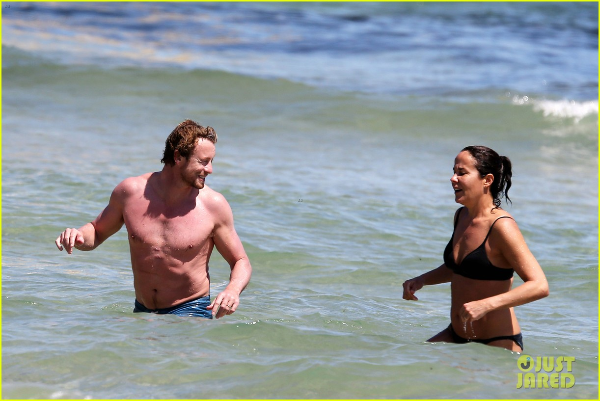 simon baker shirtless beach day with wife rebecca rigg 203013010