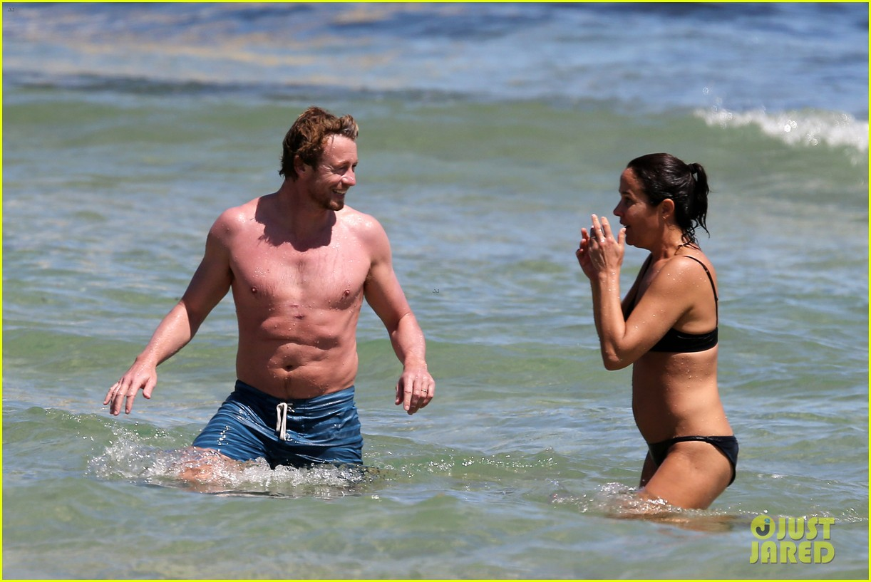 simon baker shirtless beach day with wife rebecca rigg 213013011