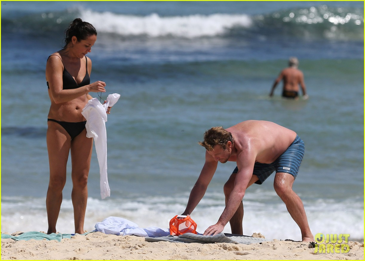 simon baker shirtless beach day with wife rebecca rigg 253013015