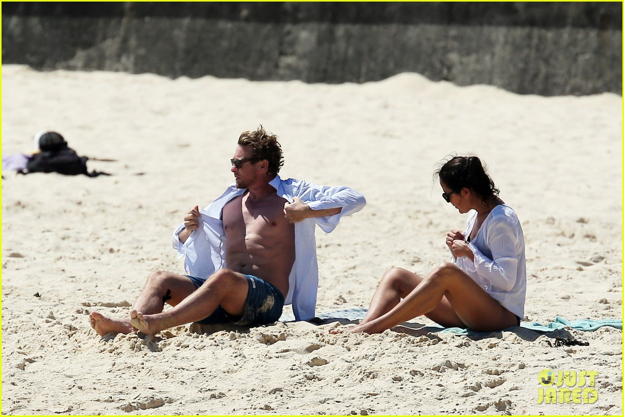 simon baker shirtless beach day with wife rebecca rigg 303013020