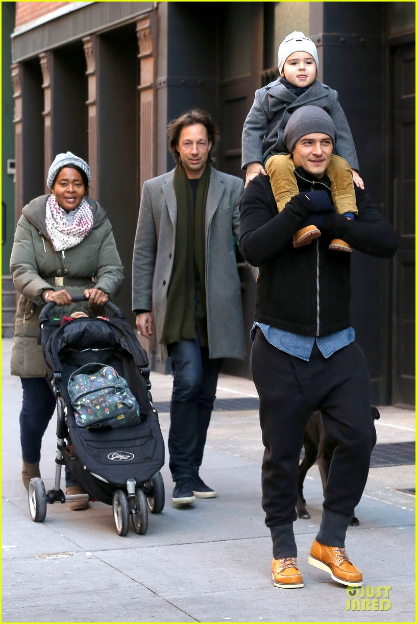 orlando bloom flynn beanie matching father son duo 15