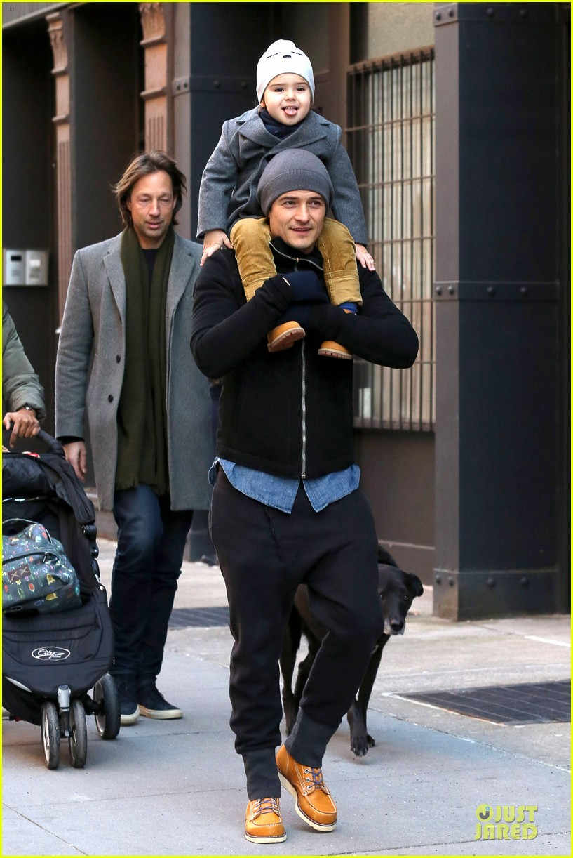 orlando bloom flynn beanie matching father son duo 22