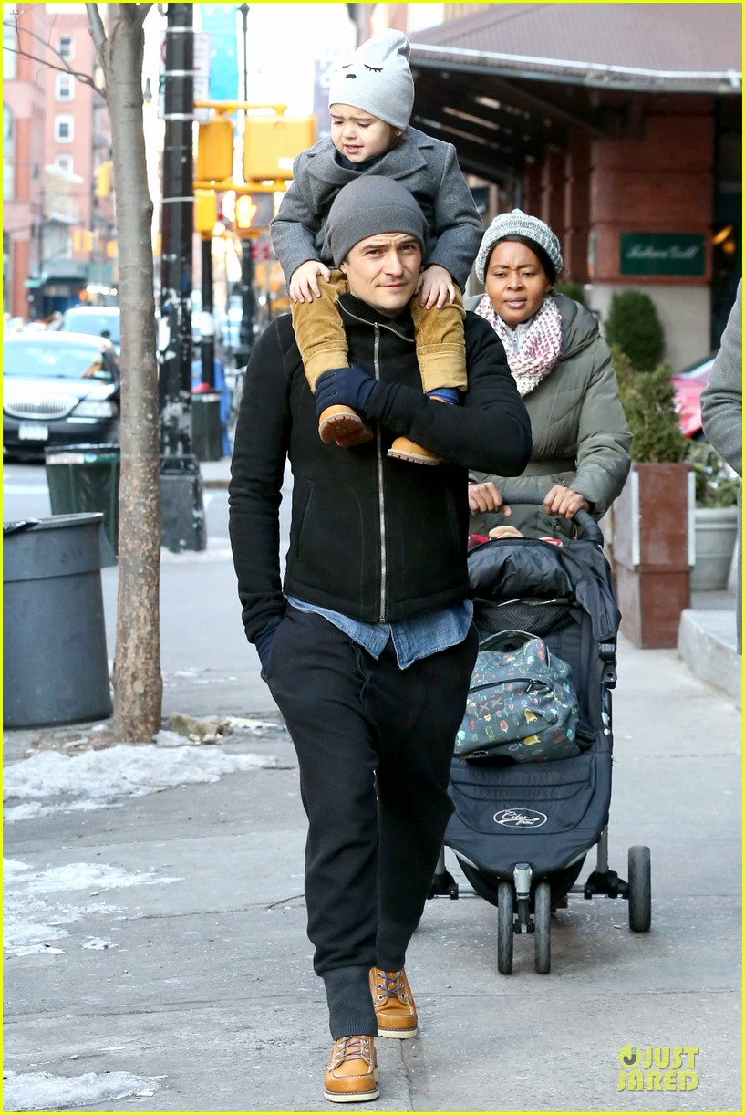 orlando bloom flynn beanie matching father son duo 24
