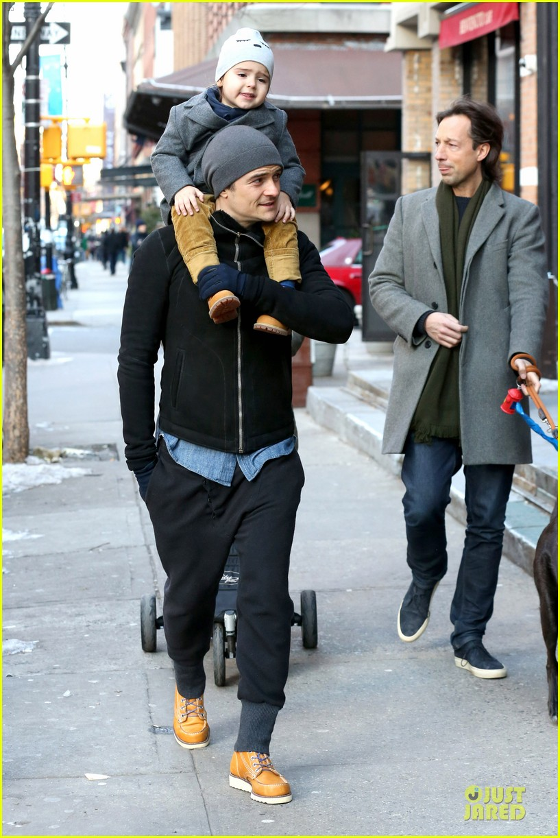 orlando bloom flynn beanie matching father son duo 30
