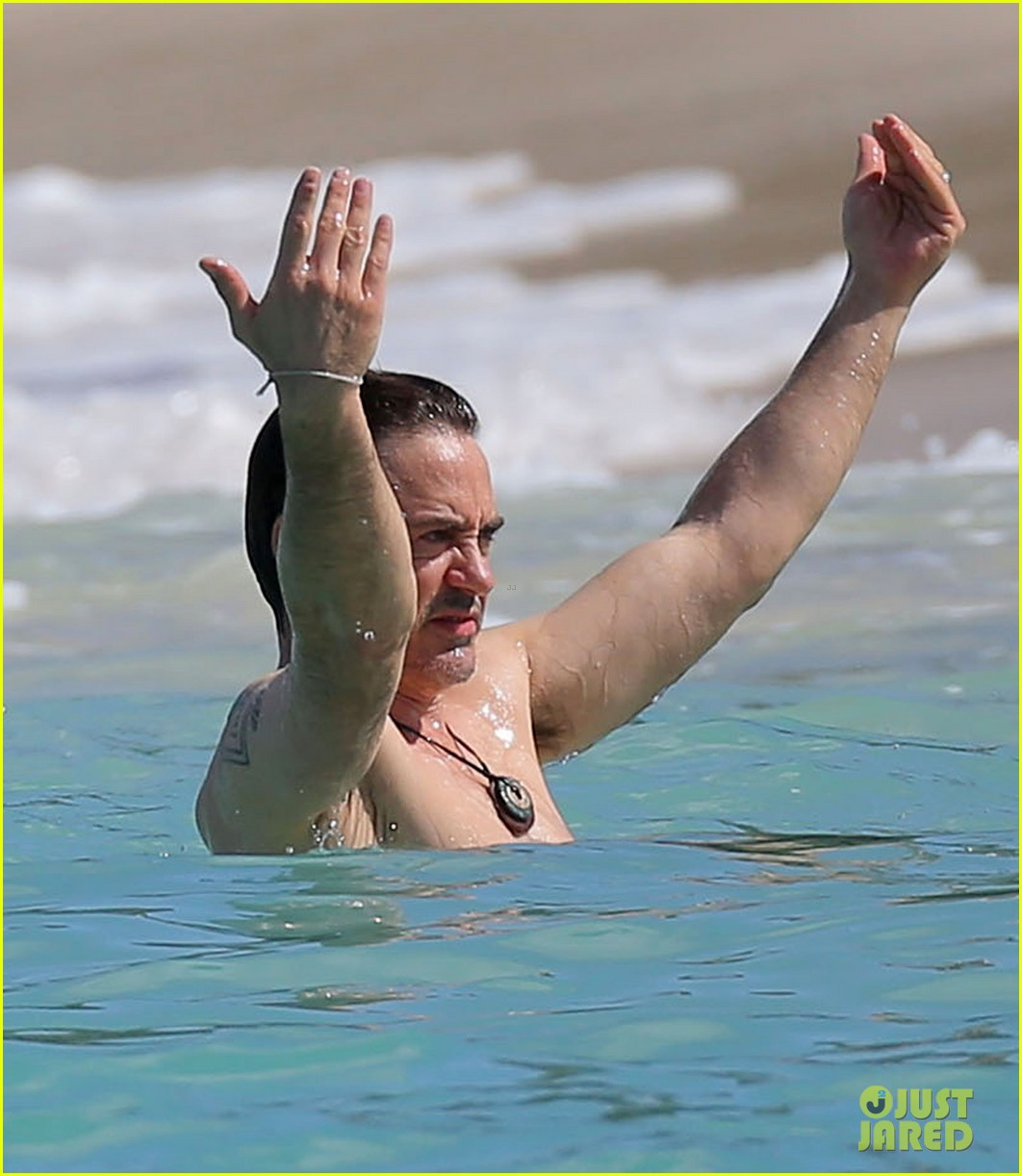 robert downey jr swims shirtless plays with exton in st barts 023019697