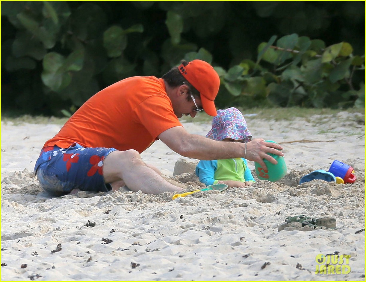 robert downey jr swims shirtless plays with exton in st barts 033019698