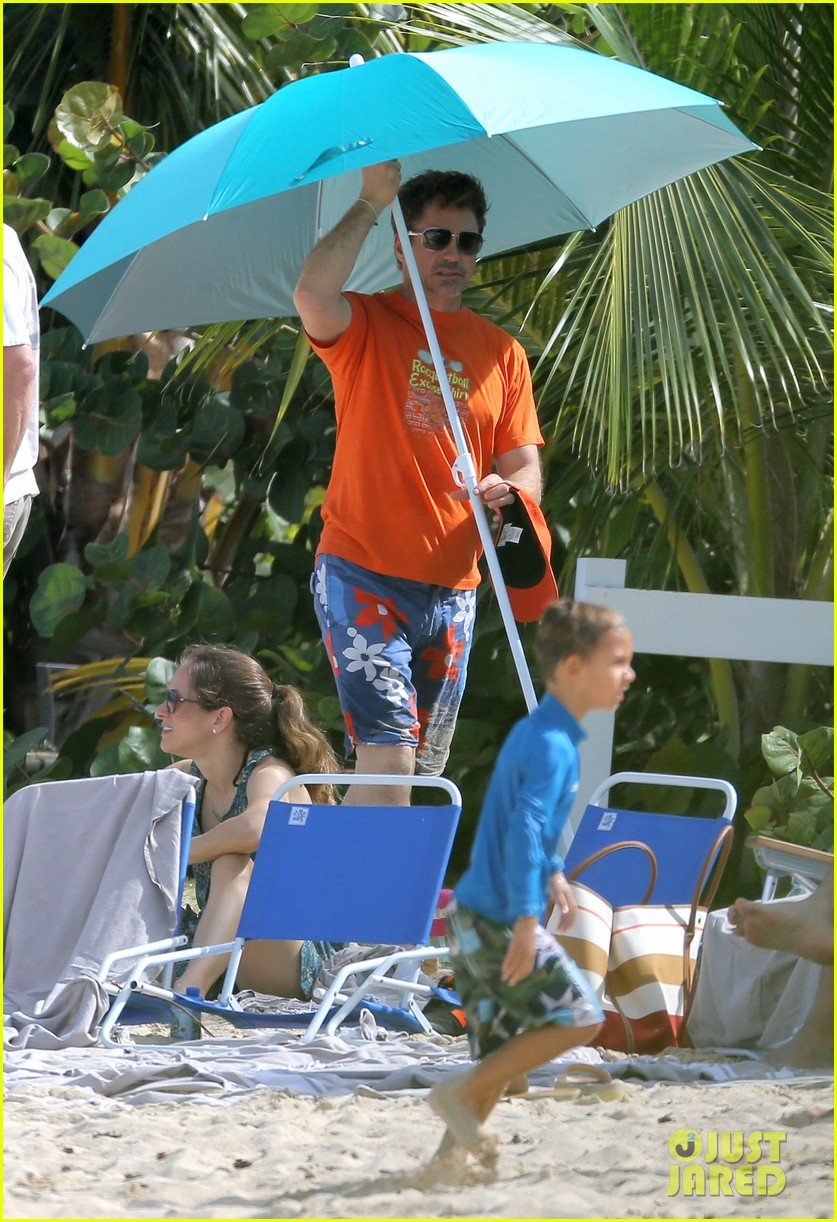 robert downey jr swims shirtless plays with exton in st barts 143019709