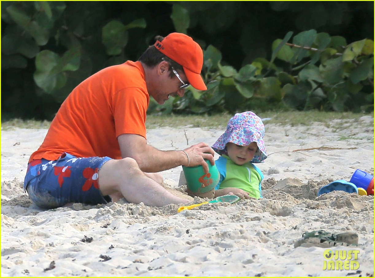 robert downey jr swims shirtless plays with exton in st barts 163019711