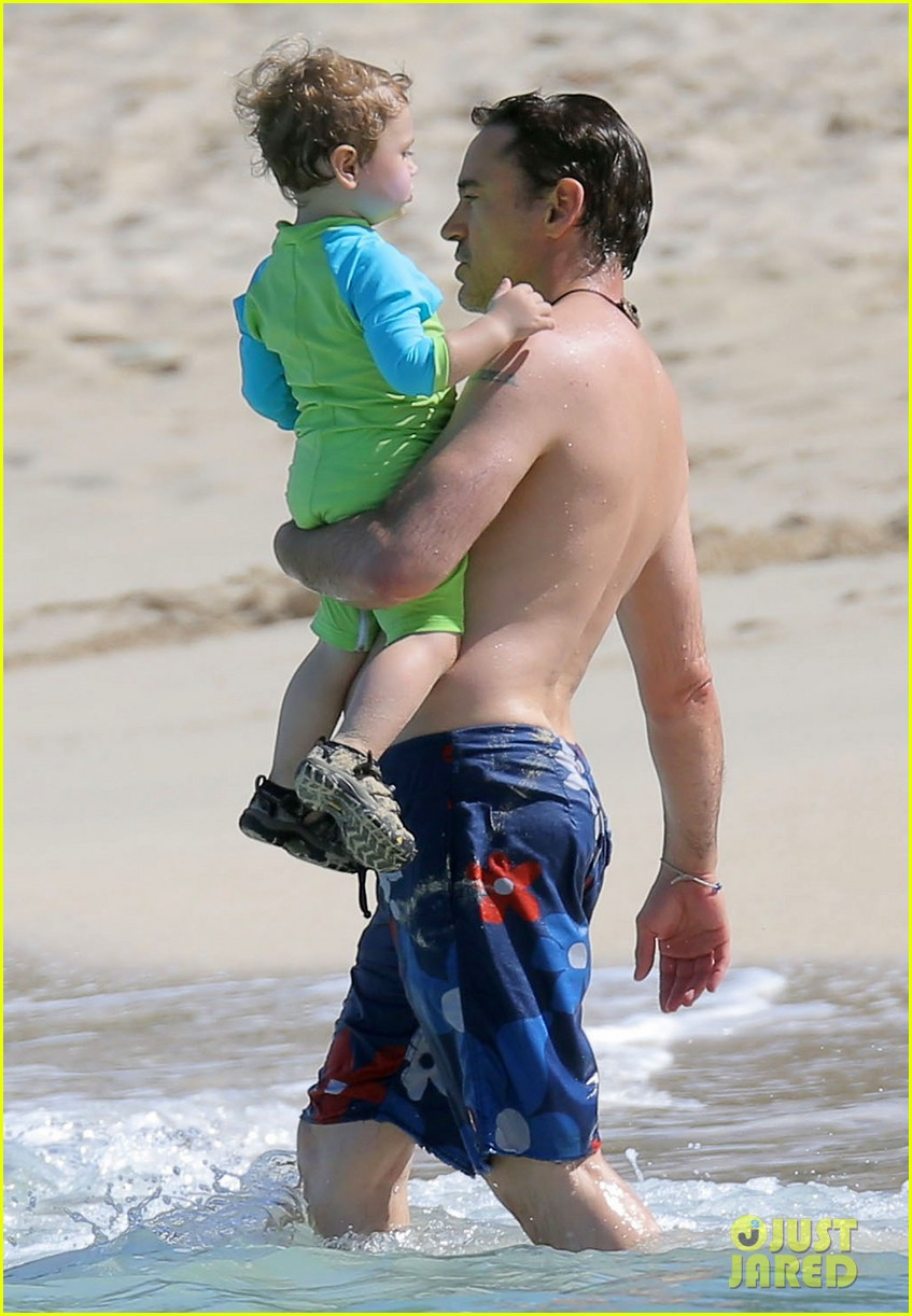 robert downey jr swims shirtless plays with exton in st barts 183019713