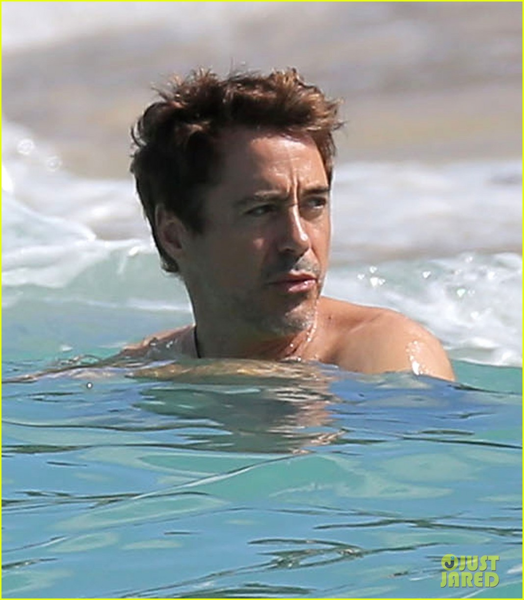 robert downey jr swims shirtless plays with exton in st barts 223019717