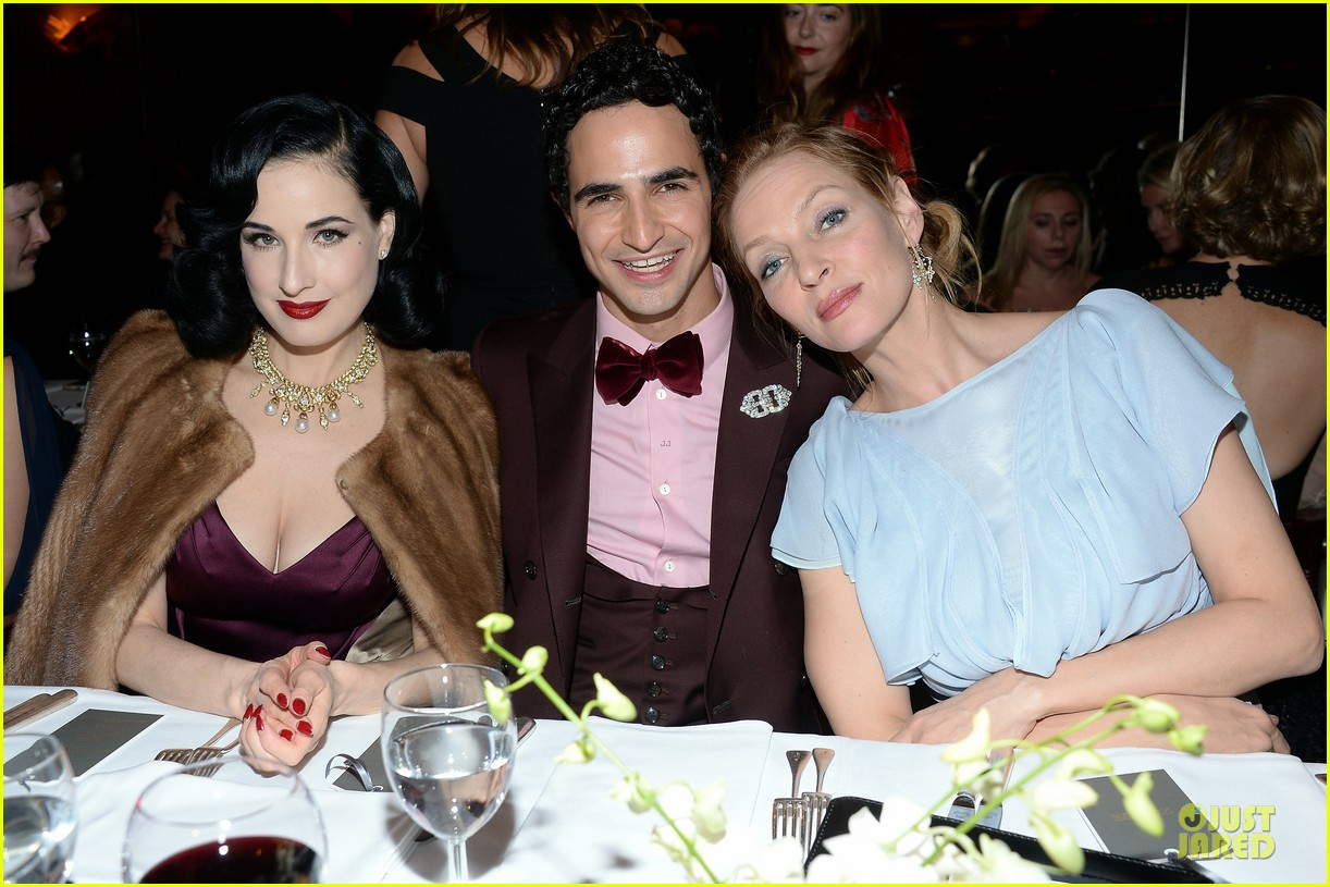 dita von teese uma thurman zac posen pre fall dinner 043010437
