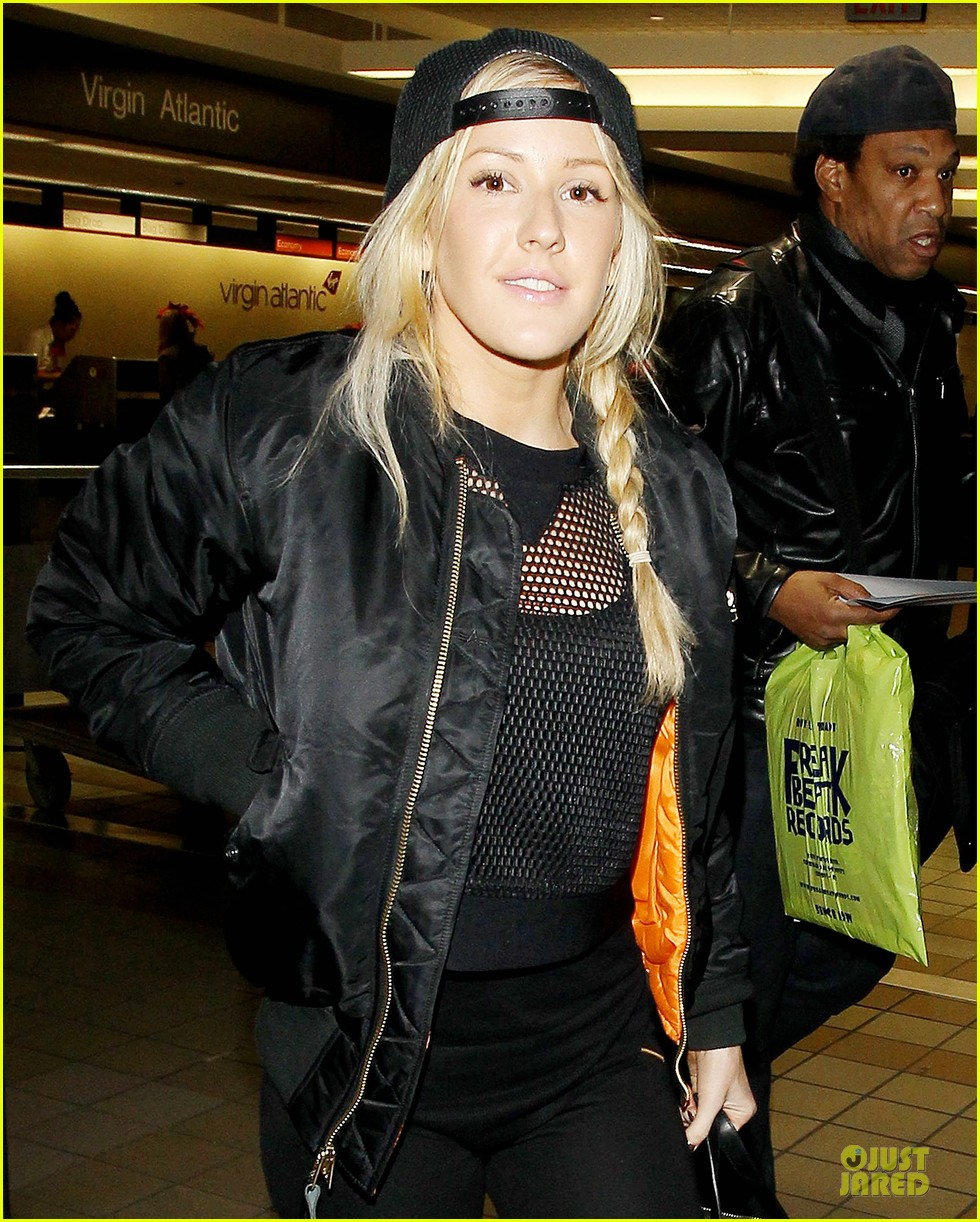 ellie goulding sports perforated top for lax departure 023002782