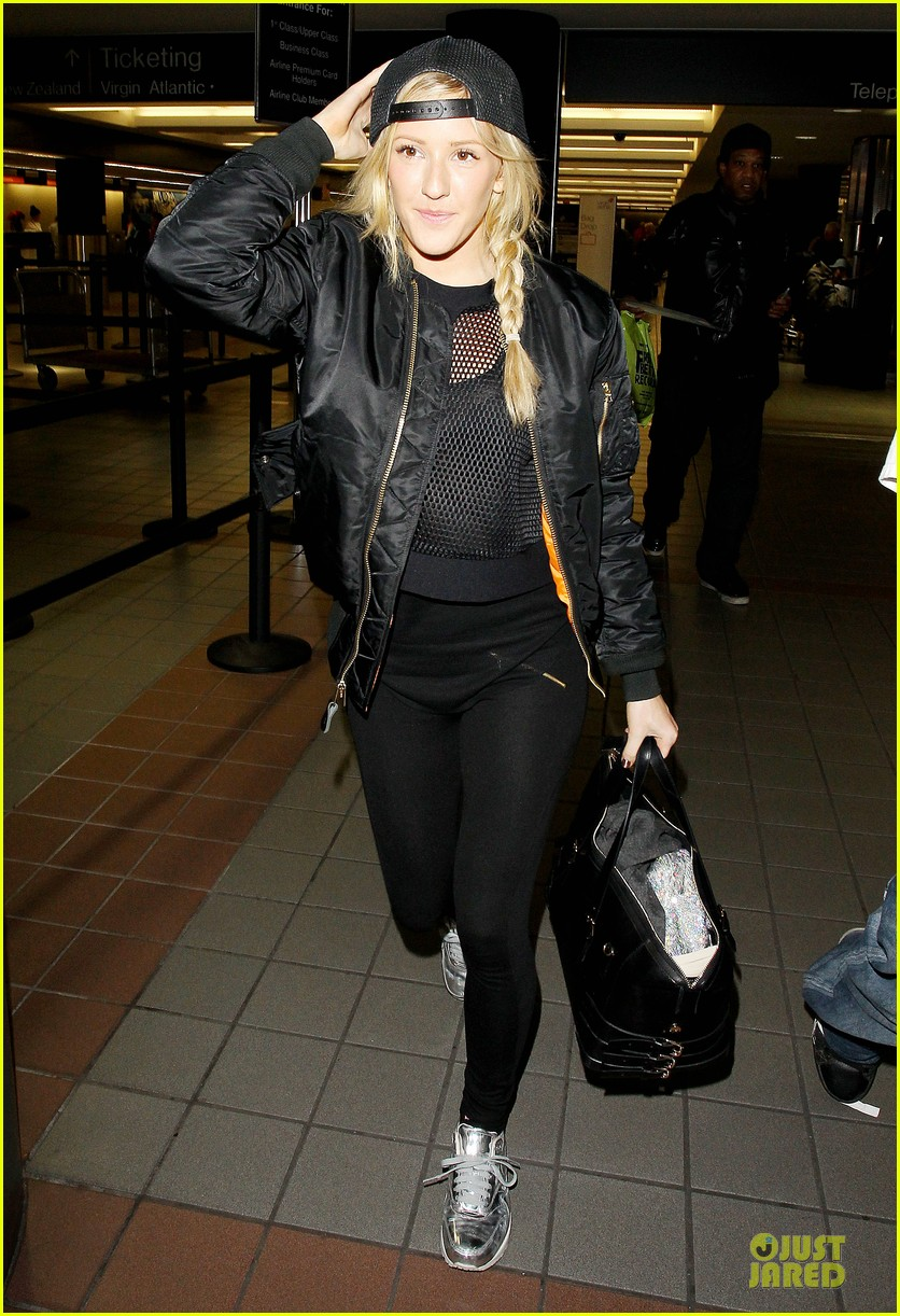 ellie goulding sports perforated top for lax departure 093002789
