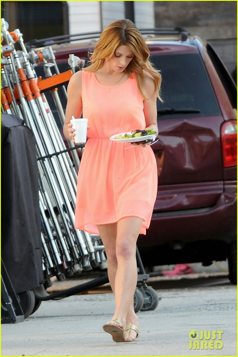 ashley green wears little pink dress for burying the ex 093005575