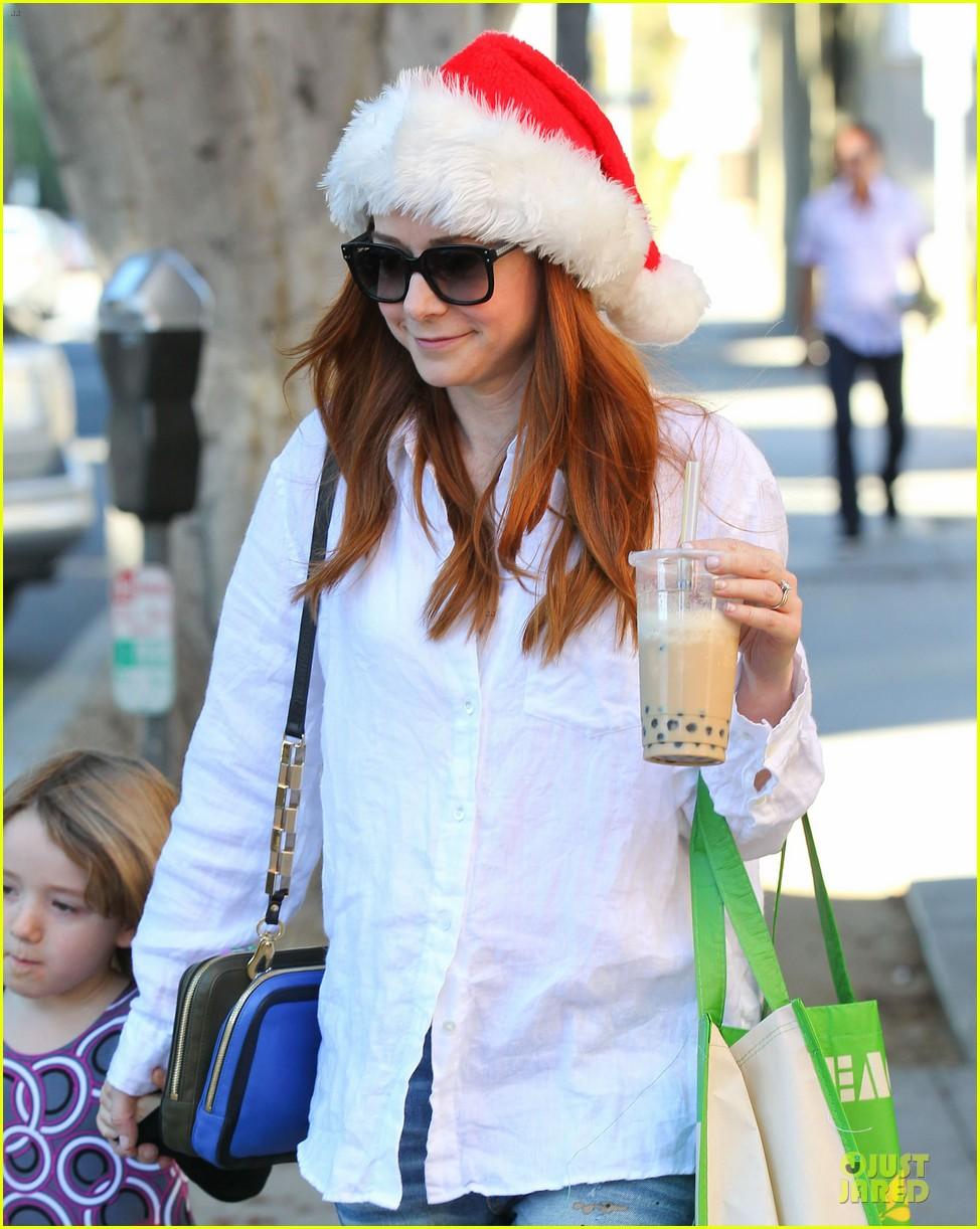 alyson hannigan sports santa hat on christmas eve 213017376
