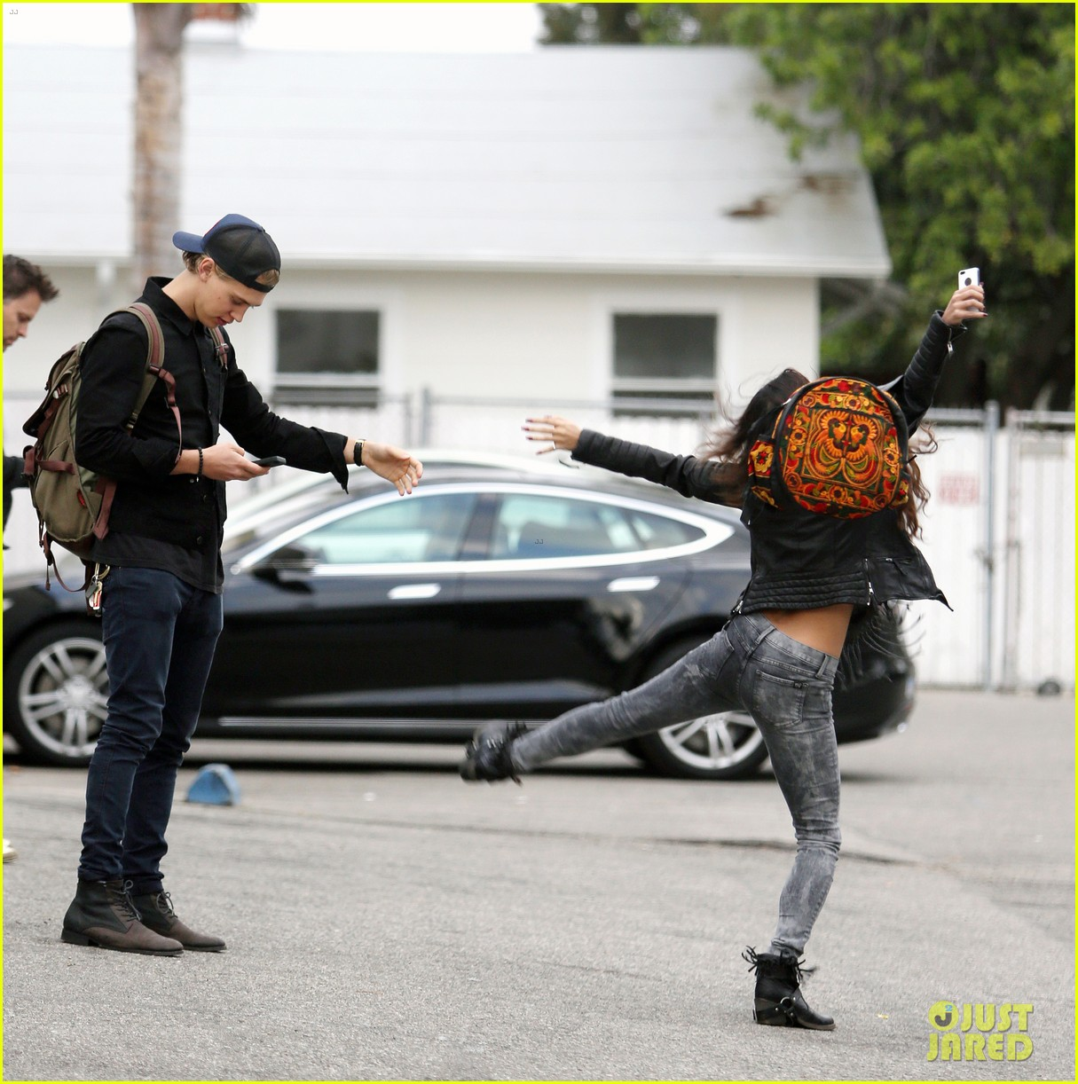 vanessa hudgens dance take silly selfies in a parking lot 113014652