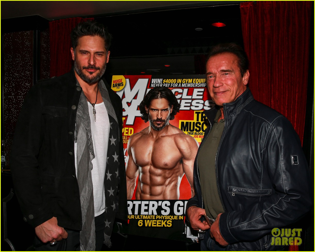 joe manganiello celebrates muscle fitness cover with arnold schwarzenegger 083014930