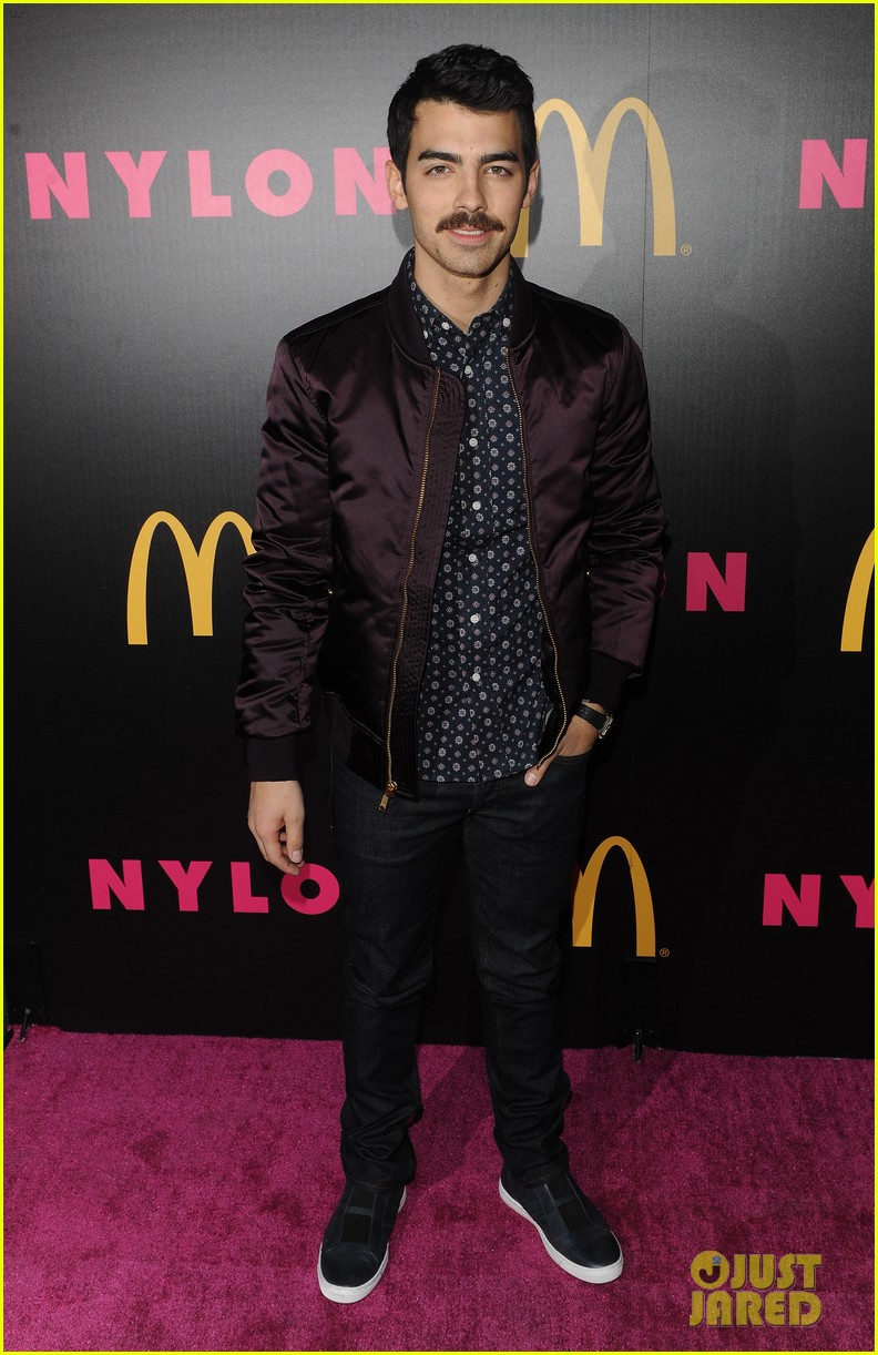 demi lovato mustachioed joe jonas nylon magazine party 05