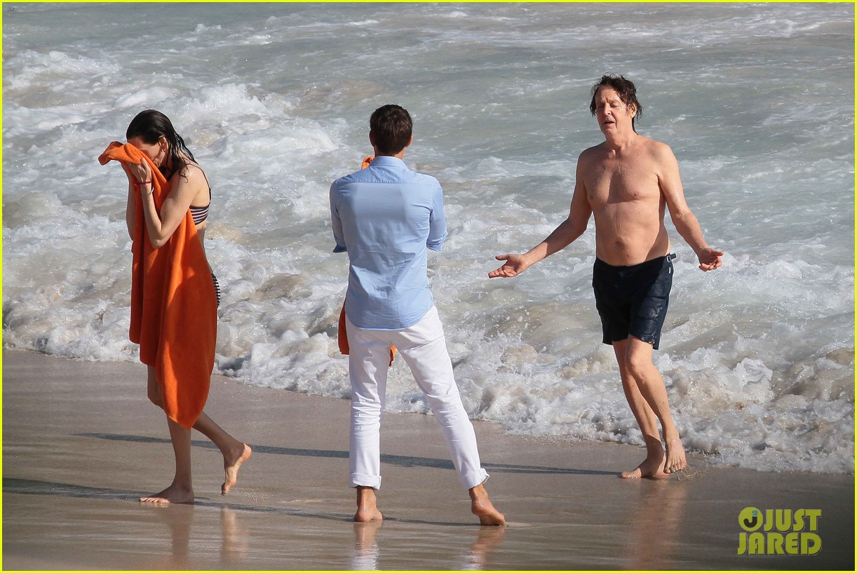 paul mccartney shirtless vacation with wife nancy shevell 163018507