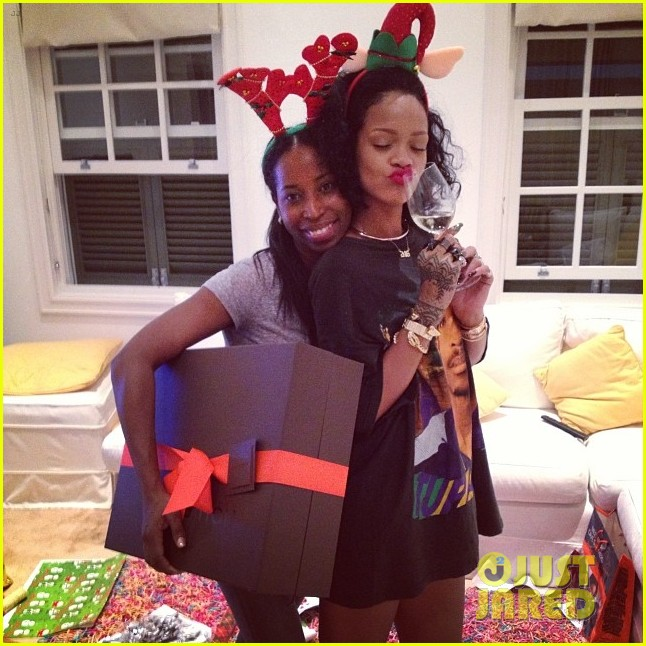 rihanna is a red nosed reindeer at her christmas eve party 053017570