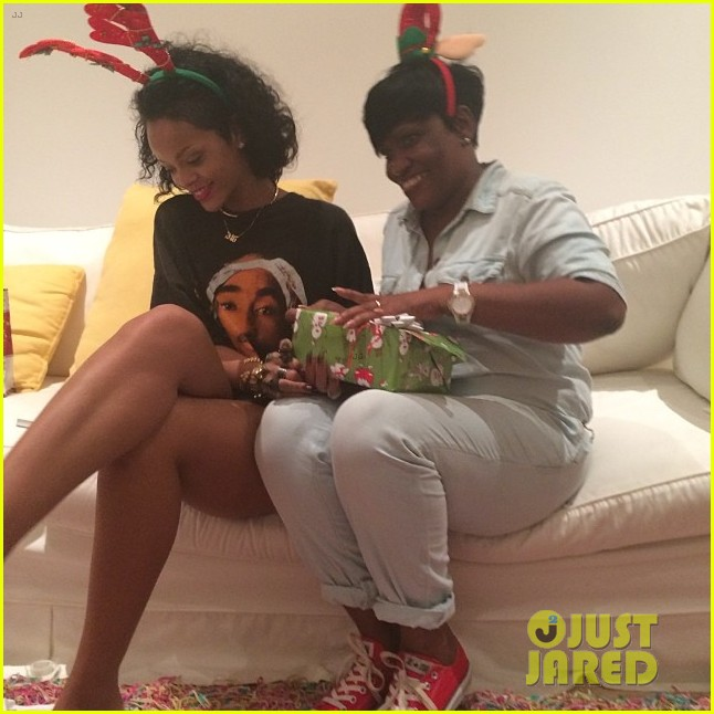 rihanna is a red nosed reindeer at her christmas eve party 063017571