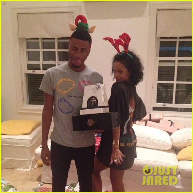 rihanna is a red nosed reindeer at her christmas eve party 123017577