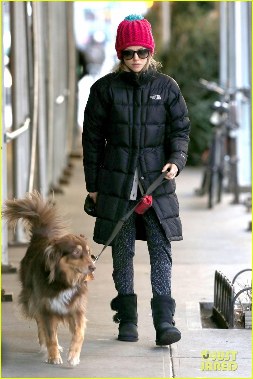 amanda seyfried monday morning dog walk with finn 093012980