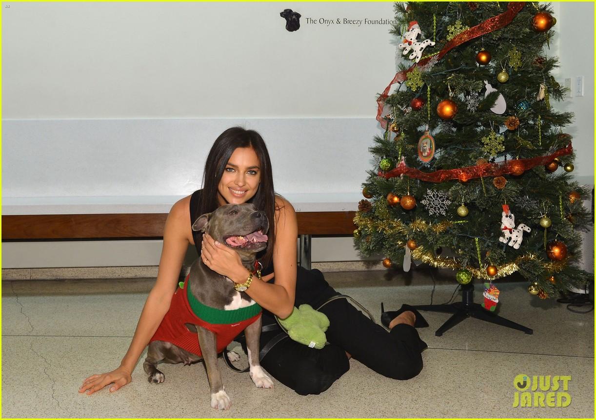 irina shayk meets adorable pitbull dog at aspca event 053009525