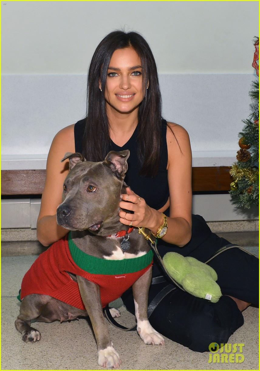 irina shayk meets adorable pitbull dog at aspca event 143009534