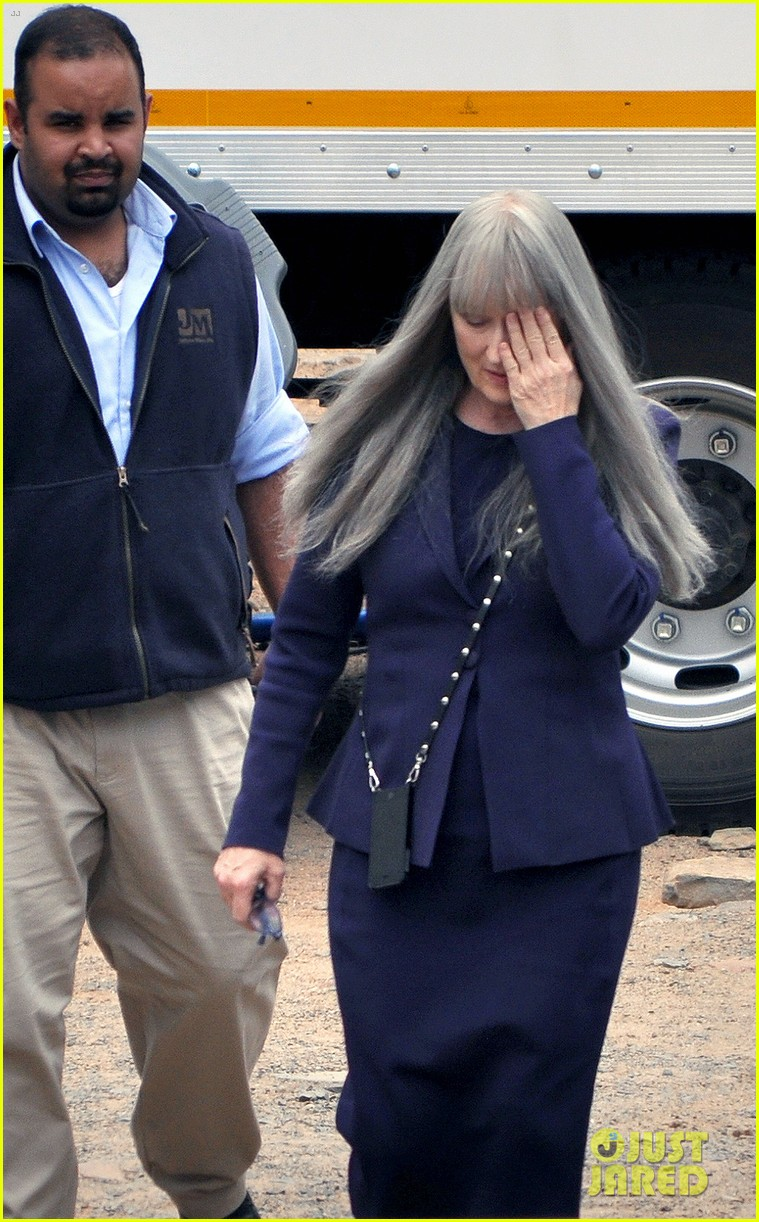 meryl streep wears long gray wig for the giver 013008503
