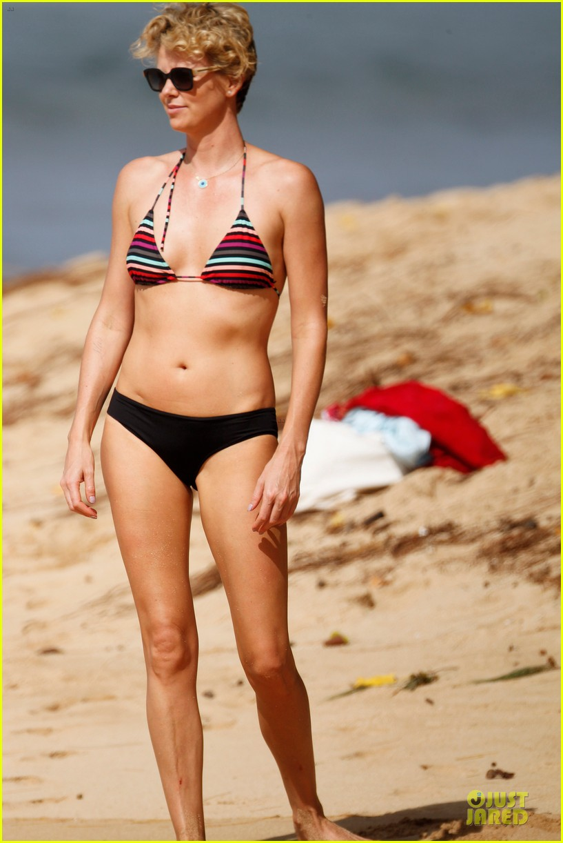 charlize theron colorful hawaiian bikini babe 193020243