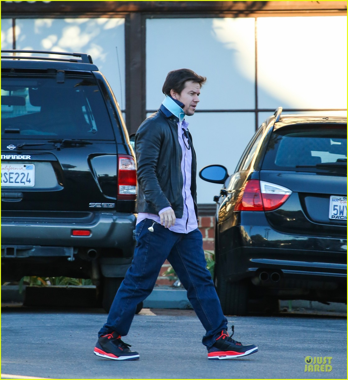 mark wahlberg wears neck brace for mall shopping trip 073010398