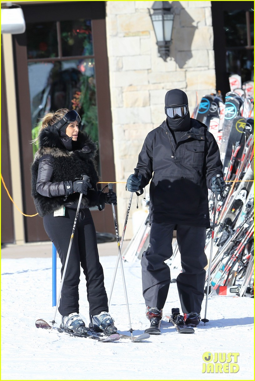 kanye west wears full face mask for skiing with kim kardashian 013019949