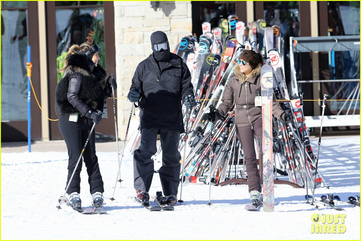 kanye west wears full face mask for skiing with kim kardashian 023019950