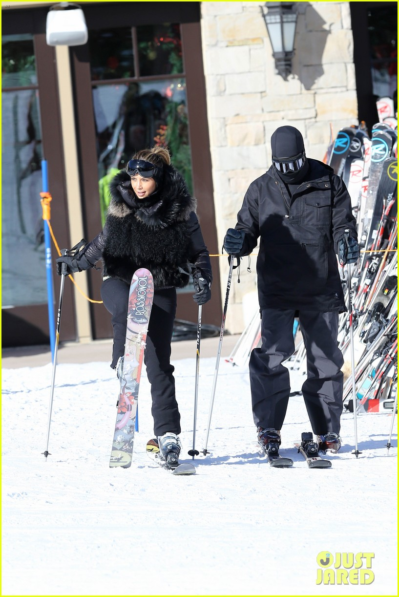 kanye west wears full face mask for skiing with kim kardashian 193019967