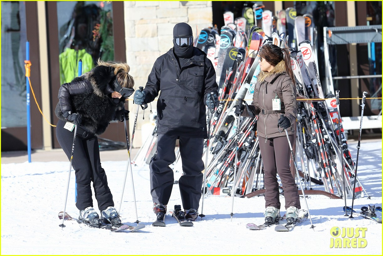 kanye west wears full face mask for skiing with kim kardashian 203019968