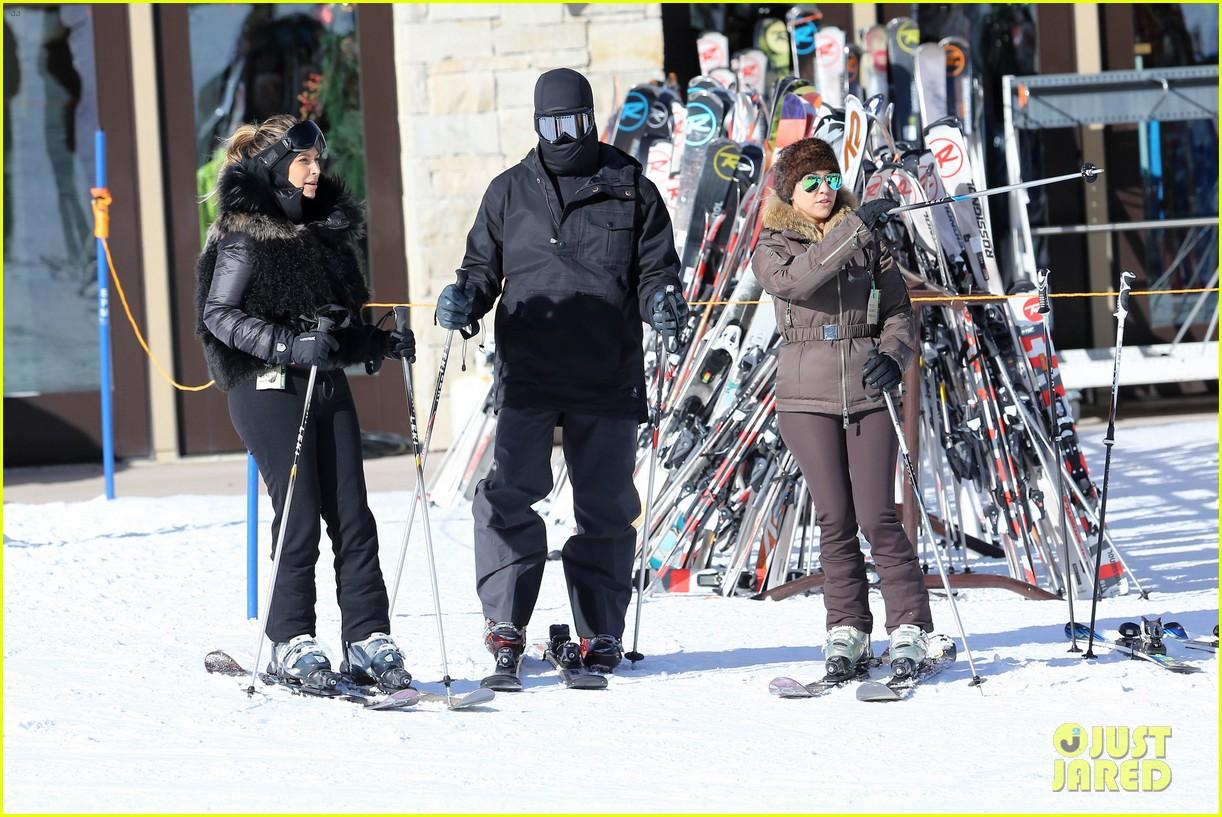 kanye west wears full face mask for skiing with kim kardashian 213019969