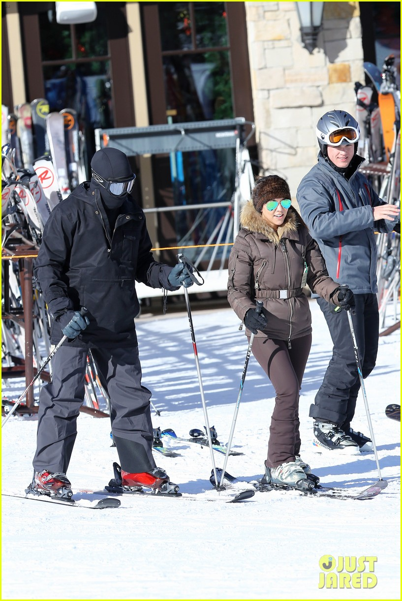 kanye west wears full face mask for skiing with kim kardashian 293019977