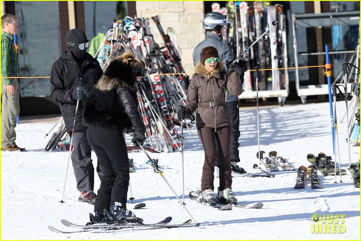 kanye west wears full face mask for skiing with kim kardashian 303019978
