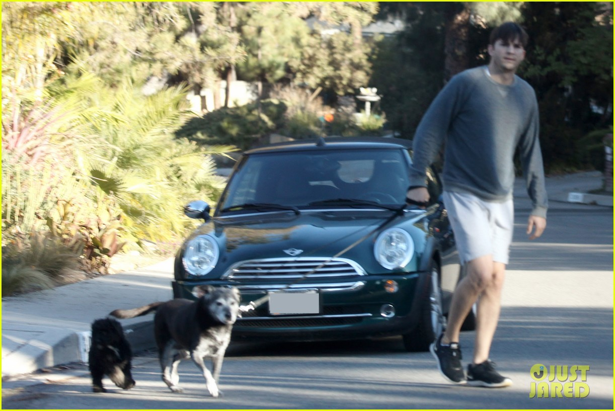 ashton kutcher sunday morning dog duty 043023147