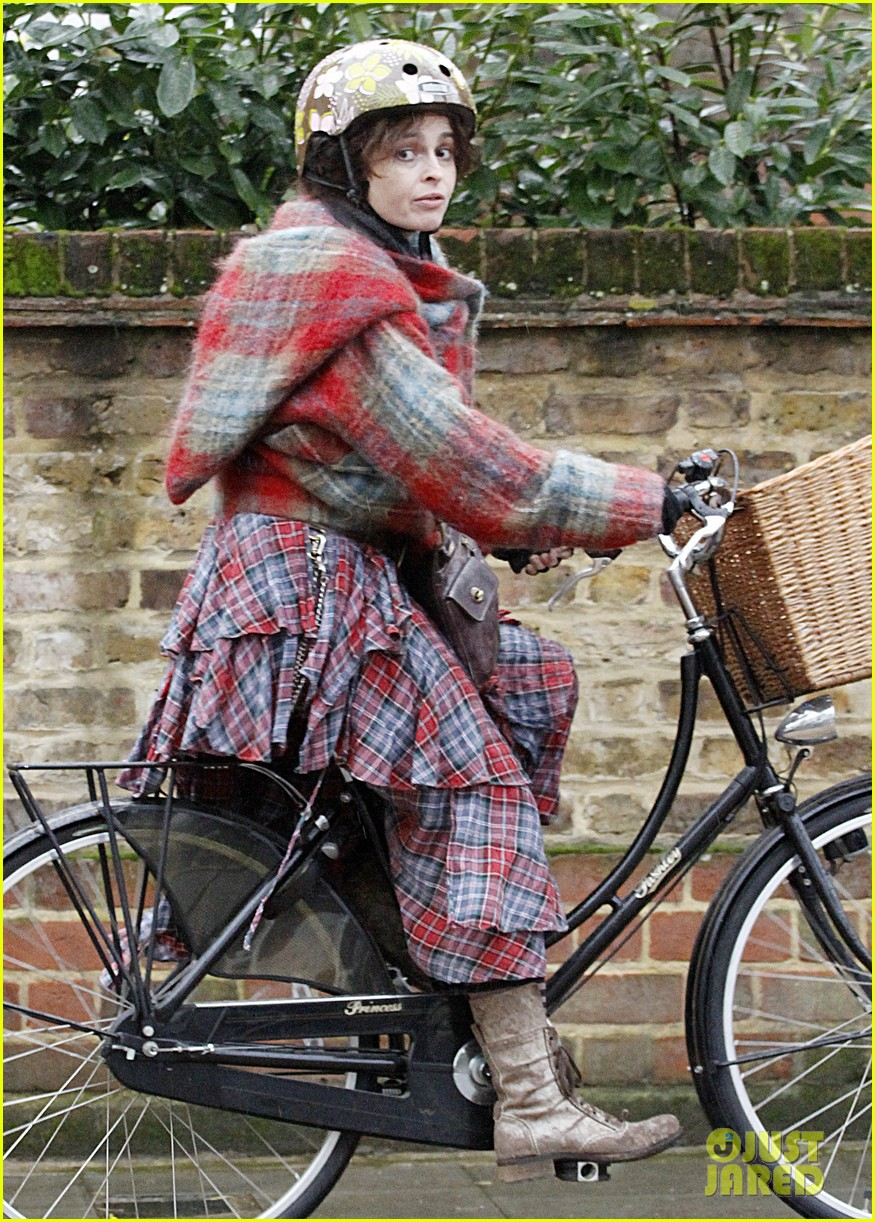 helena bonham carter bikes in the rain with son billy 043022107