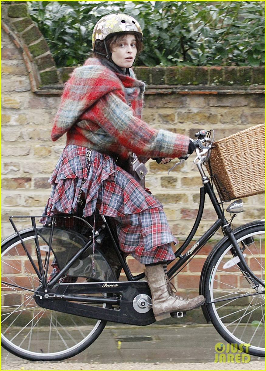 helena bonham carter bikes in the rain with son billy 093022112