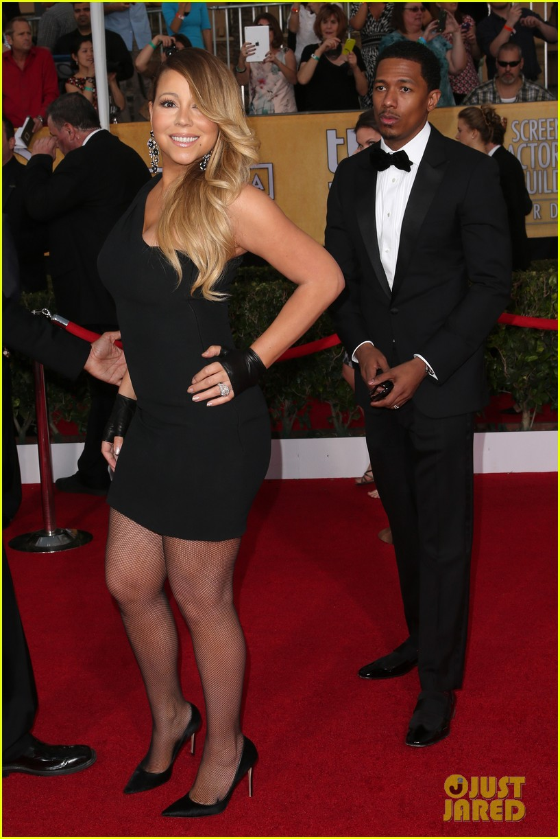 mariah carey sag awards 2014 red carpet with nick cannon 01