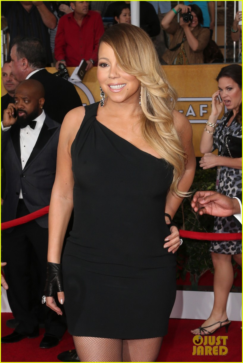 mariah carey sag awards 2014 red carpet with nick cannon 043034807
