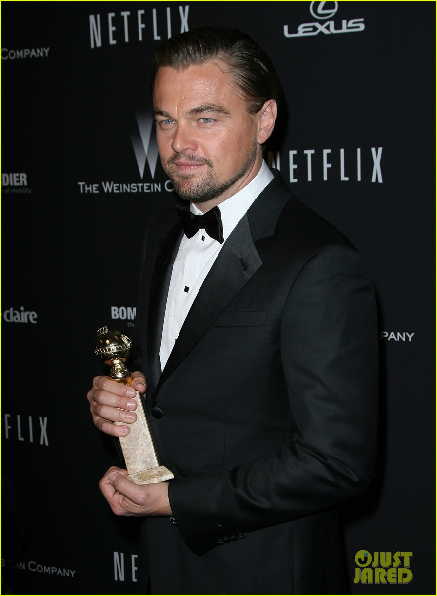 leonardo dicaprio shows off golden globe at weinstein party 053029829