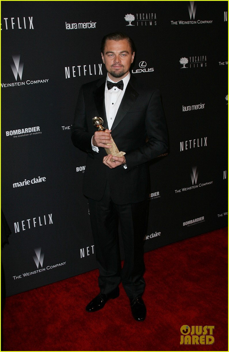 leonardo dicaprio shows off golden globe at weinstein party 063029830