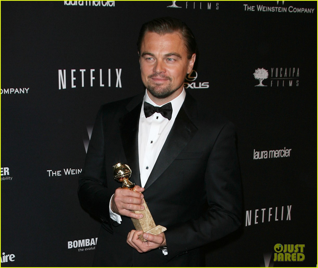leonardo dicaprio shows off golden globe at weinstein party 083029832