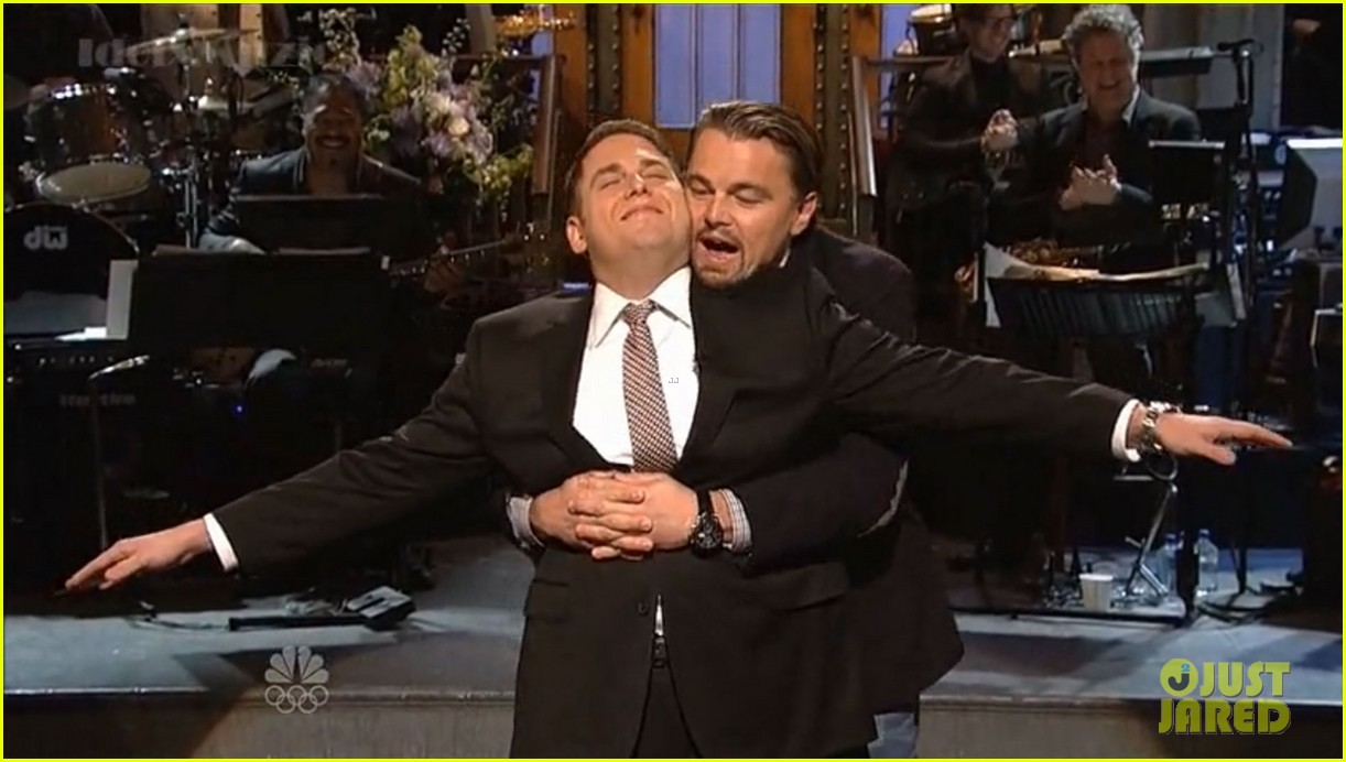 leonardo dicaprio jonah hill recreate titanic scene on snl 013040355